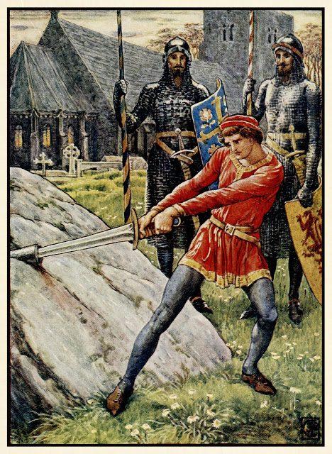 Artur potegne meč iz skale.