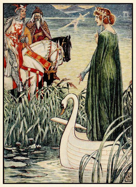 Kralj Artur prosi Jezersko gospo za meč Excalibur.