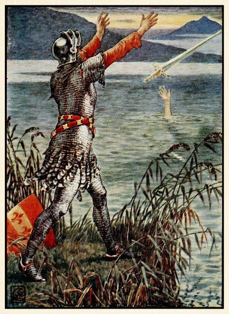 Sir Bedevere vrže meč Excalibur v jezero.