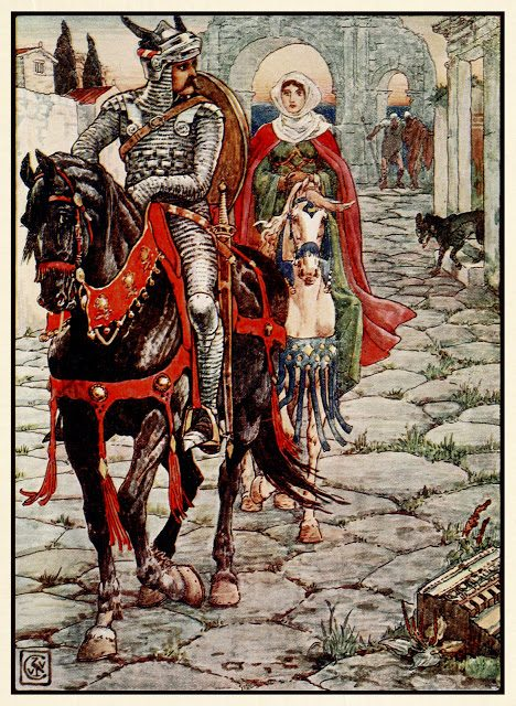 Sir Geraint in gospa Enid v zapuščenem rimskem mestu.