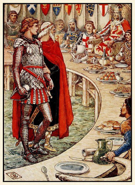 Sira Galahada pripeljejo na dvor Kralja Arturja.