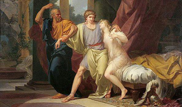 Sokrat vleče Alkibiada iz objema čutnih užitkov (Jean-Baptiste Regnault)
