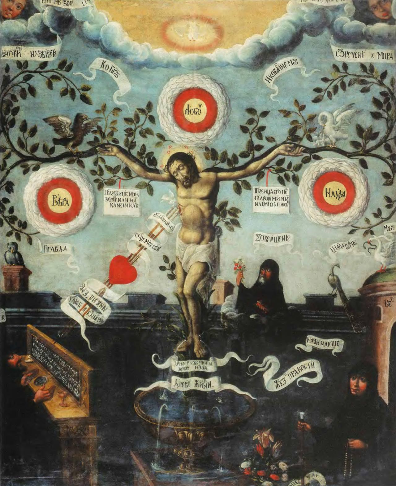 Križanje, razcveteli križ, ikona, XIX. stoletje